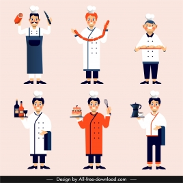chef icons colored cartoon characters sketch