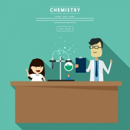chemistry experiment background human icon webpage style design