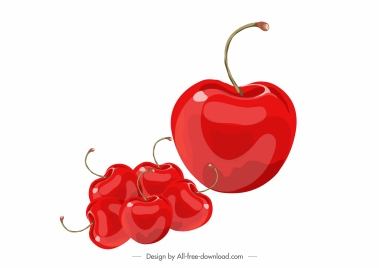 cherries fruit icons shiny modern red design