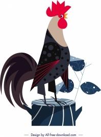 chicken animal painting colored cartoon design