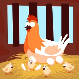 chicken family background hen chick icons colored cartoon