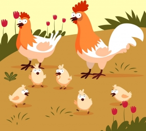 chicken farm drawing hen cock chick icons