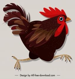 chicken icon colorful classic design motion sketch