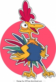 chicken icon sticker template colorful cartoon character design