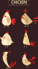 chicken icons collection colored cartoon design various character