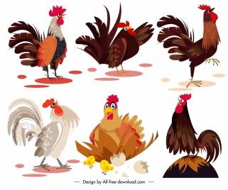 chicken icons colored cartoon sketch