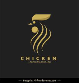 chicken logo template dark flat sketch