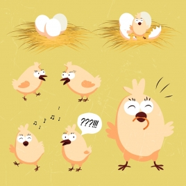 chicks design elements egg straw icons cartoon design