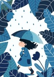 childhood background blue design girl leaves umbrella icons