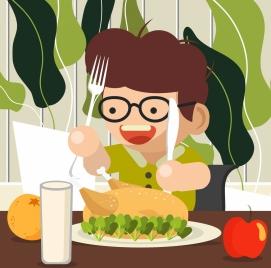 childhood background boy eating foods icons cartoon design