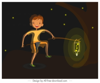 childhood background boy firefly sketch cartoon design