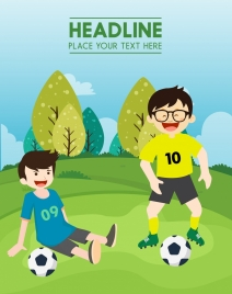 childhood background boy playing football icons colored cartoon