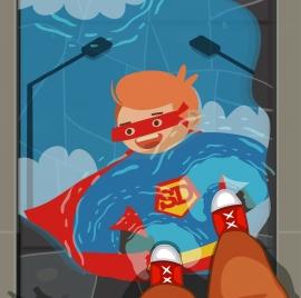 childhood background boy superman costume icons cartoon character