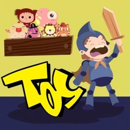 childhood background boy toys icons cartoon design