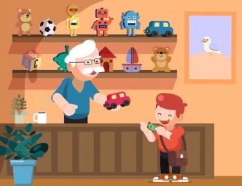 childhood background boy toys store icons cartoon design