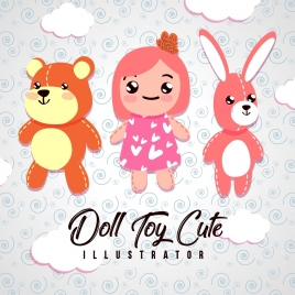 childhood background cute dolls toys icons decoration