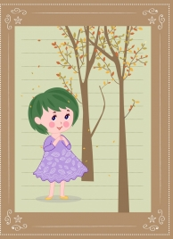 childhood background cute girl trees icons cartoon design