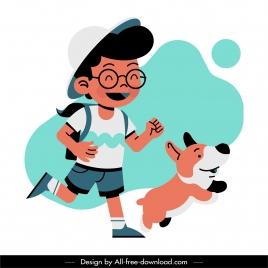 childhood background cute schoolboy puppy sketch cartoon design