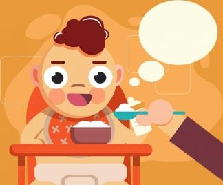 childhood background eating kid icon cartoon design