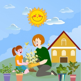 childhood background garden work theme cartoon design