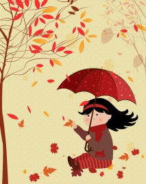 childhood background girl falling leaves icon red decor