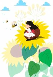 childhood background girl sunflowers honeybees icons cartoon design