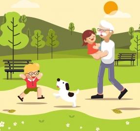 childhood background joyful children grandfather icons cartoon design