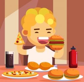 childhood background kid eating fast food icon