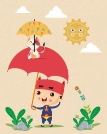 childhood background kid umbrella kitty icons stylized sun