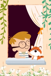childhood background little boy cat icon colored cartoon