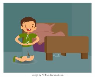 childhood background playful boy bedroom sketch cartoon design