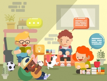 childhood background playful boys icons cartoon design