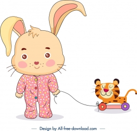 childhood background stylized bunny icon cute cartoon character