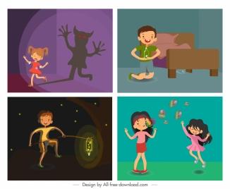 childhood backgrounds kids emotions sketch cartoon design