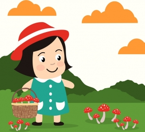 childhood cartoon background cute girl icon mushroom collection