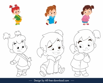 childhood coloring book elements cute kids sketch