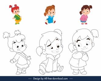 childhood coloring book elements cute kids sketch