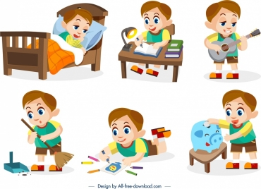 childhood design elements boy daily activities icons design