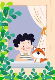 childhood drawing boy kitten pet icons colored cartoon