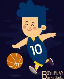 childhood drawing boy play basketball icon colored cartoon