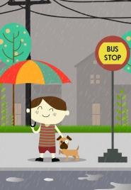 childhood drawing boy puppy rain umbrella icons