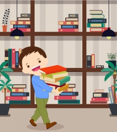 childhood drawing cute boy bookshelf icons colored cartoon