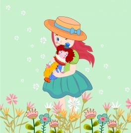 childhood drawing cute girl doll icons cartoon design