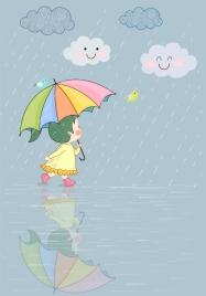 childhood drawing cute girl rainy day stylized design
