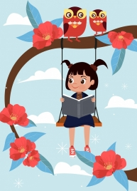 childhood drawing cute girl swing owls icons
