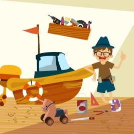 childhood drawing happy boy wooden ship toy icons