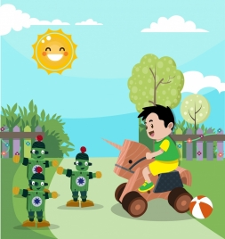 childhood drawing kid wooden toys icons cartoon style