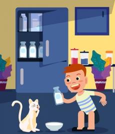 childhood drawing little boy cat milk icons