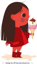 childhood icon girl eating ice cream cartoon character