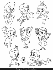 childhood icons activities sketch black white handdrawn cartoon